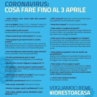 Coronavirus - Cosa fare fino al 6 aprile